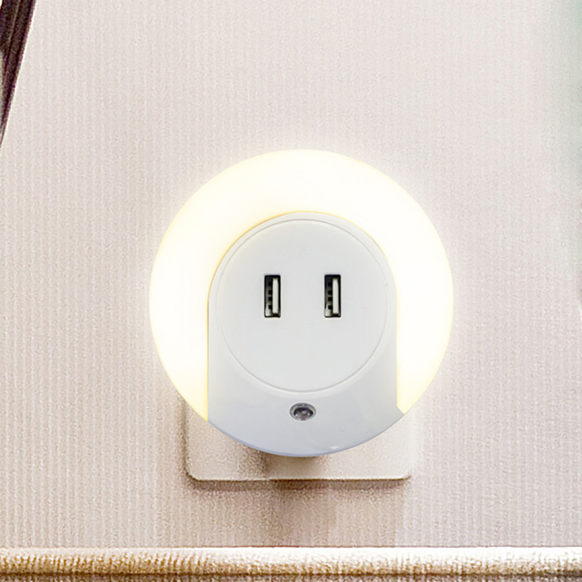 Fashion LED Light Dual USB Wall Charger for Mobile Phone Tablet PC