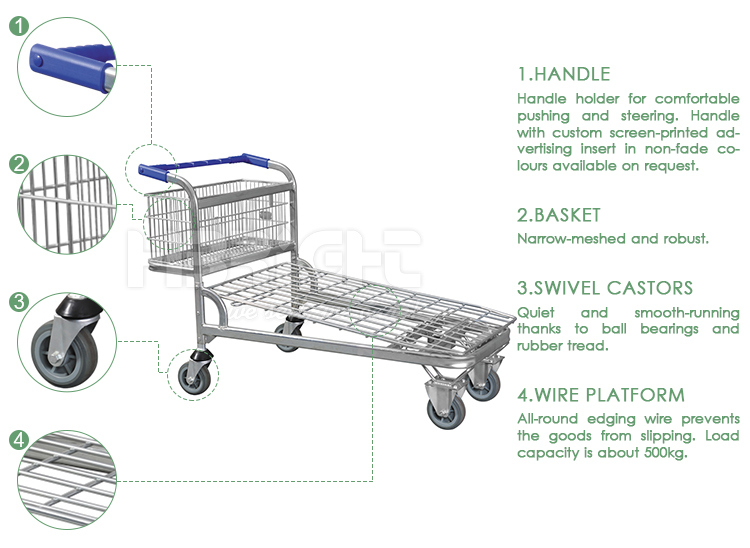 Double Tiers Warehouse Cargo Transport Trolley