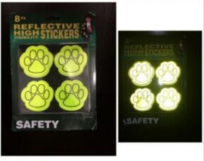 PVC Popular Dog Paws Safety Reflective Sticker