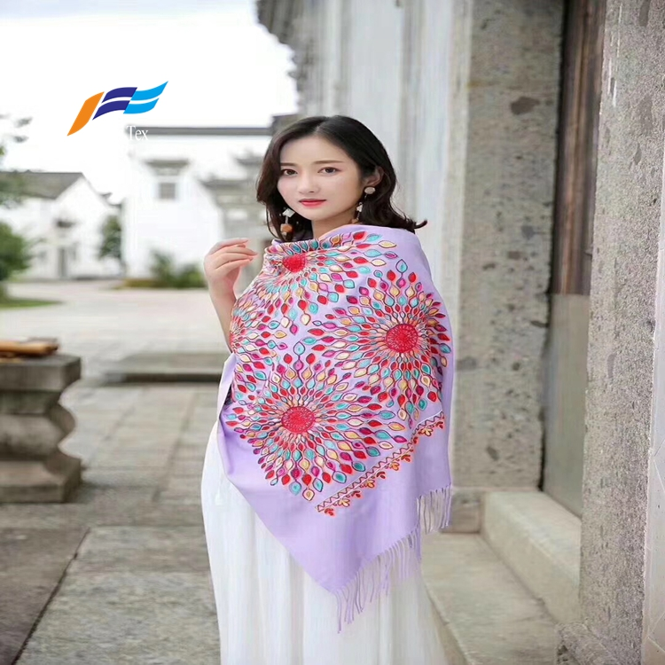 Muslim Embroidered Women Wool Scarf Fabric 2