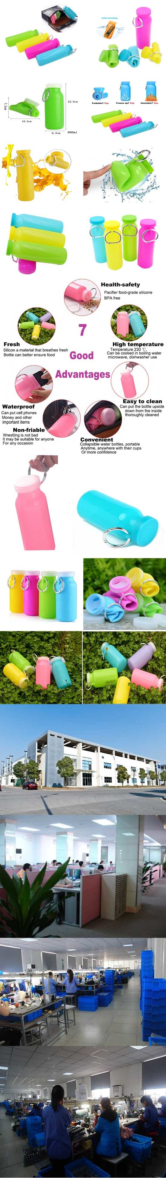 Silicone Collapsible Water Bottle for Outdoor Sport