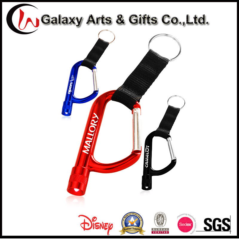 Laser/Screen Printing Climbing Hiking Aluminum Torch Keychain LED Carabiner