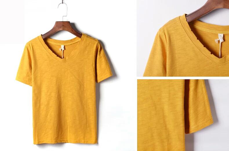 Fashion Custom Bamboo Cotton V Neck Girl and Women T Shirt