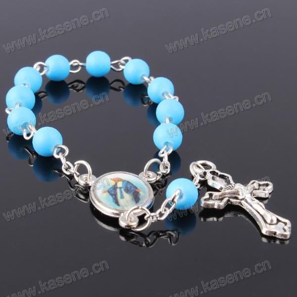 Hn15D105 Acceptable Custom Catholic Handmade Glass Cross Rosary Bracelet