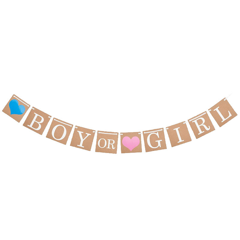 Boy Girl Alphabet Tag Pull Flag Vintage Kraft Paper Baby Children's Birthday Party I Am One Pull Flag