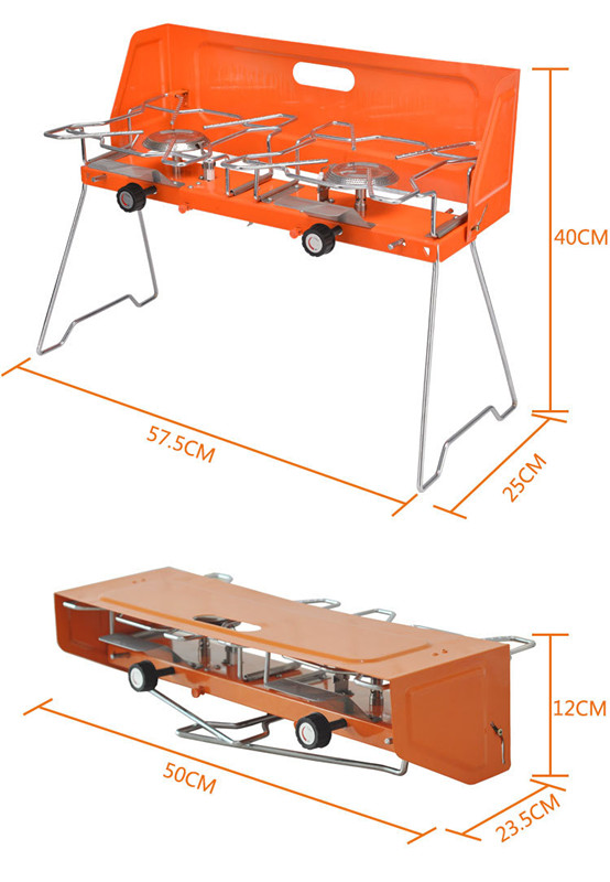 Foldable Freestanding Camping Double Burner Gas Stove