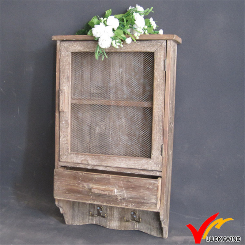 Antique Decorative Mesh Door Wooden Wall Cabinet with Hooks