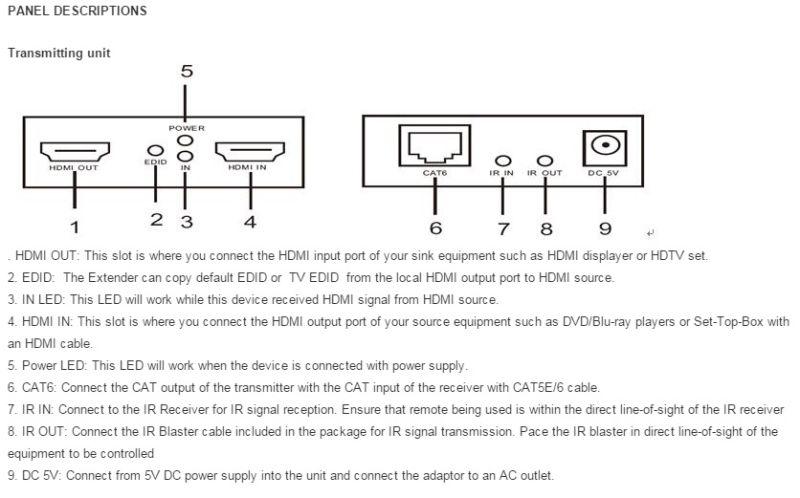 60m HDMI Extender Over Single Cat5e/6, HDMI Loop out (Bi-Directional IR+EDID+3D)