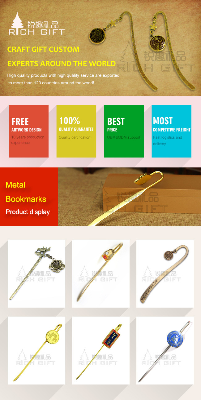 High Quality Gold Hairpin Style Classical Creative Gifts Metal Bookmark