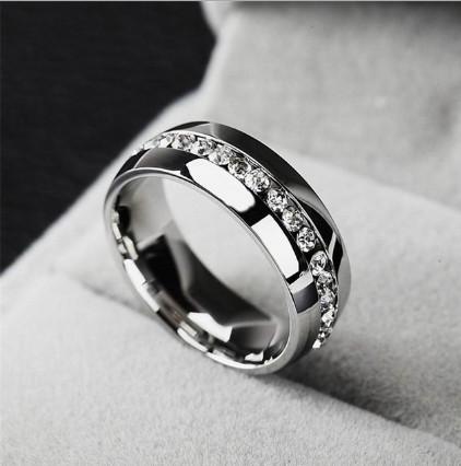 Fashion Zircon Tungsten Steel Ring Zirconia Jewelry Ring (TST2868)