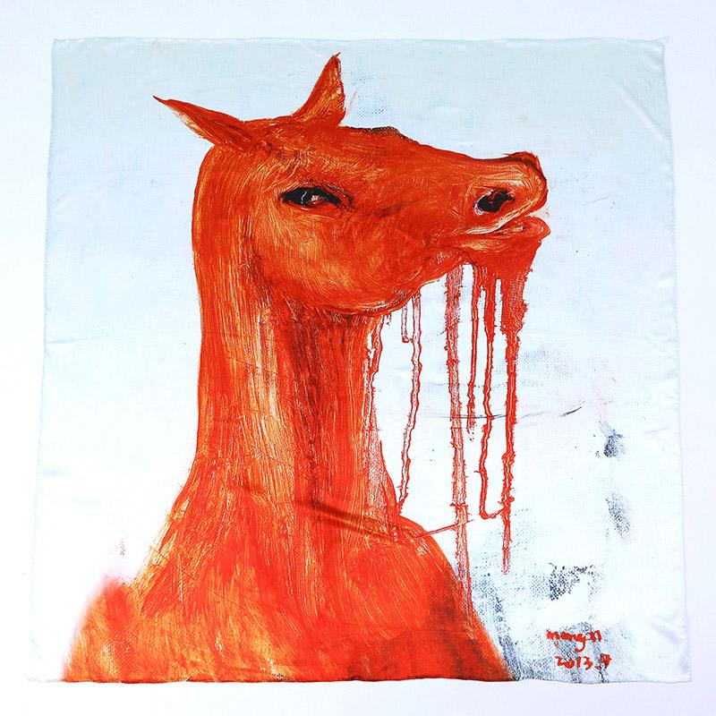 Printed Silk Satin Horse Big Square Scarf 100 * 100 Cm