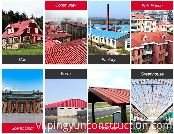 light weight pvc roof tile for rest court