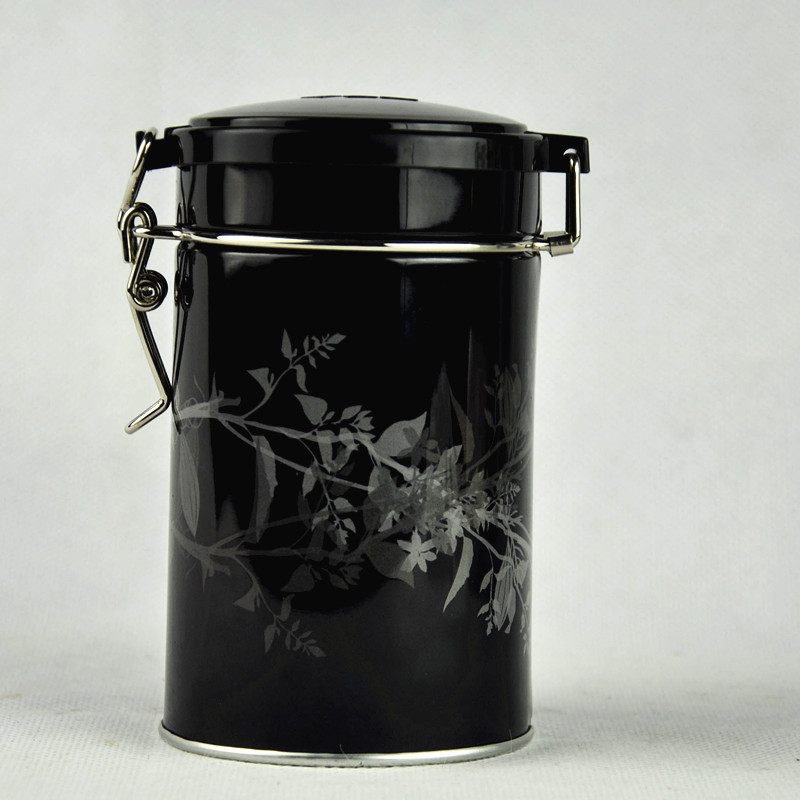 Custom Round Airtight Tea Packaging Tin Box with Wire Lock