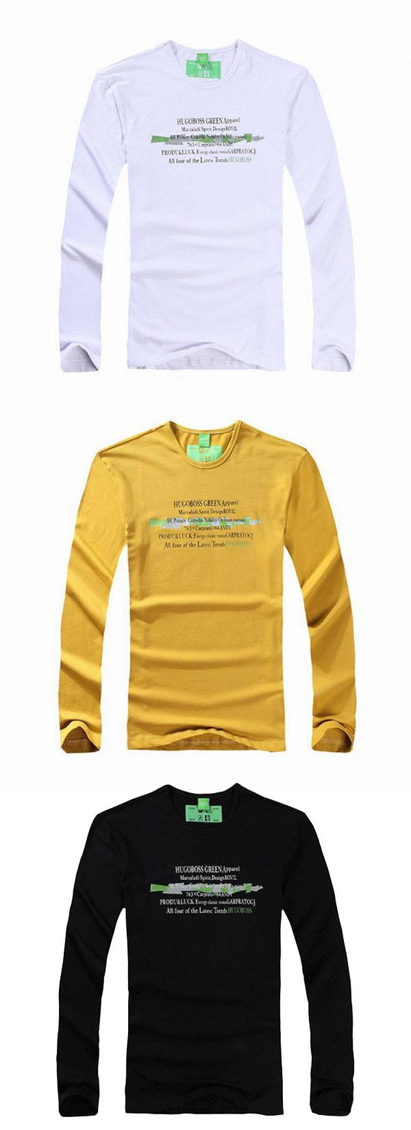 High Quality Mens Crewneck Black Long Sleeve T Shirts