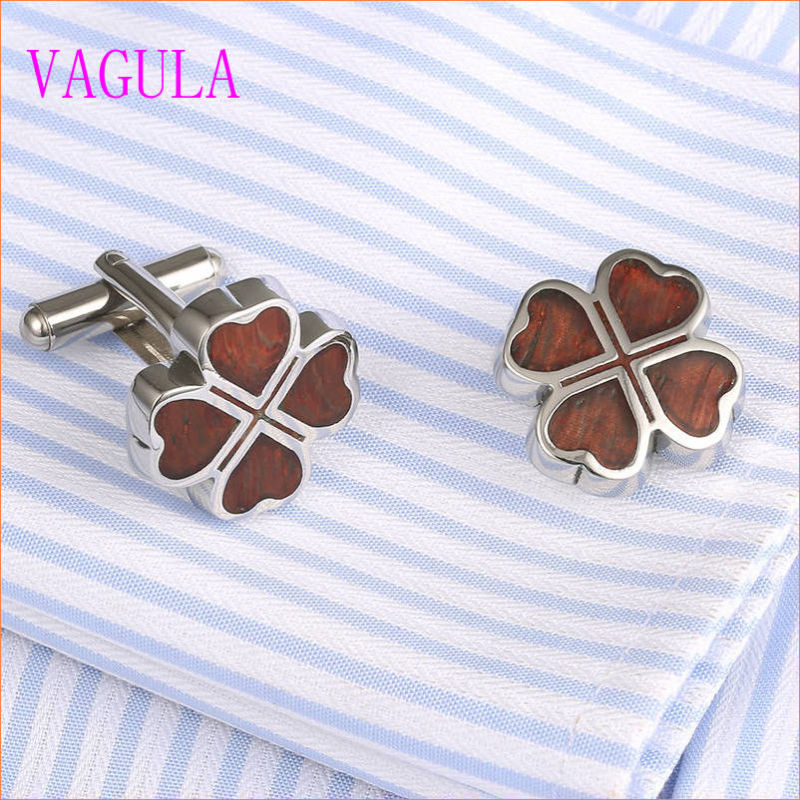 VAGULA Lucky Leaf Stainless Steel Red Wood Cufflinks 360