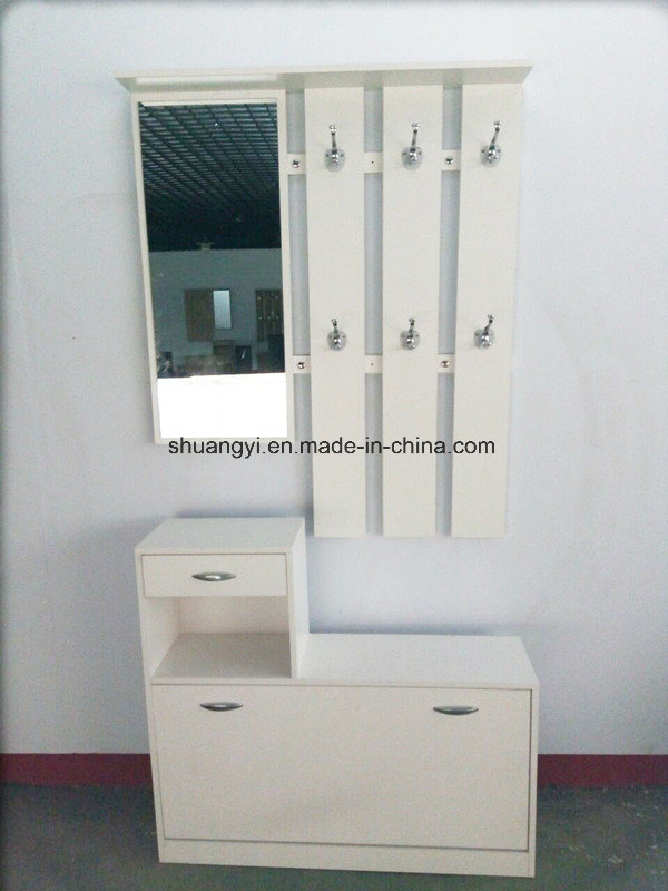 Simple Design Wooden Shoe Cabinet with Coat Rack with Mirror
