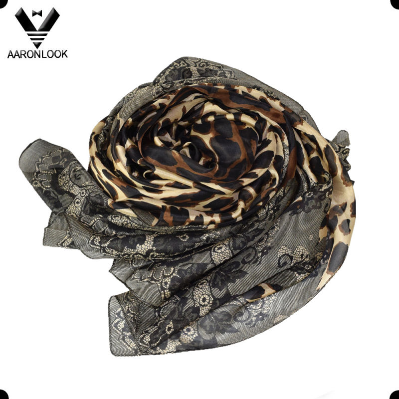 Women's Wholesale Retro Flower and Animal Pattern Leopard Silk Scarf