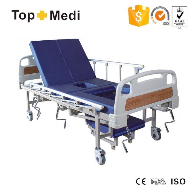 Medical Five-Function with Mattress and Commode Bucket Manual Hospital Bed