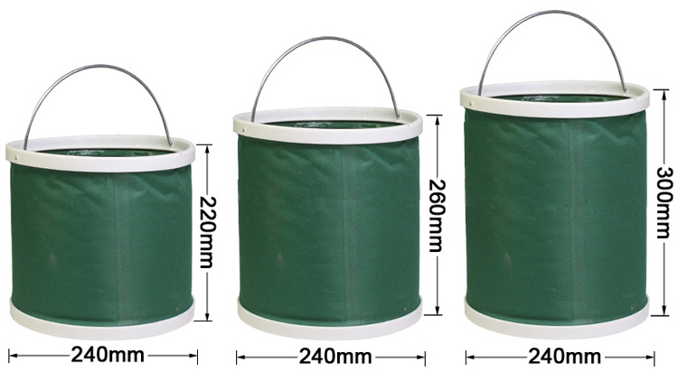 9L Foldable Fishing Bucket with Stainless Steel Handle