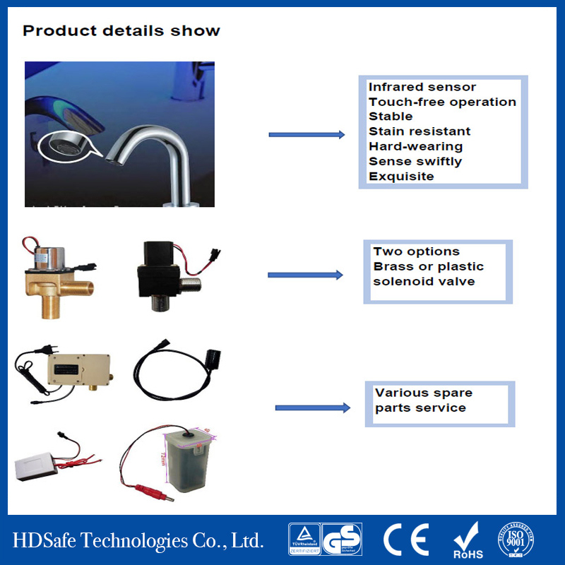 Automatic Self Closing Touchless Bathroom Taps Hands Free Touch Sensor Faucet Commercial