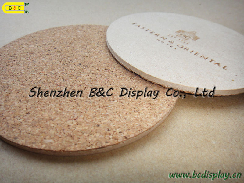 Carving Logo Cup Mat, Sculpture Logo Cork Coaster, Customized Logo Printed Top Quality Cork Coaster (B&C-G070)