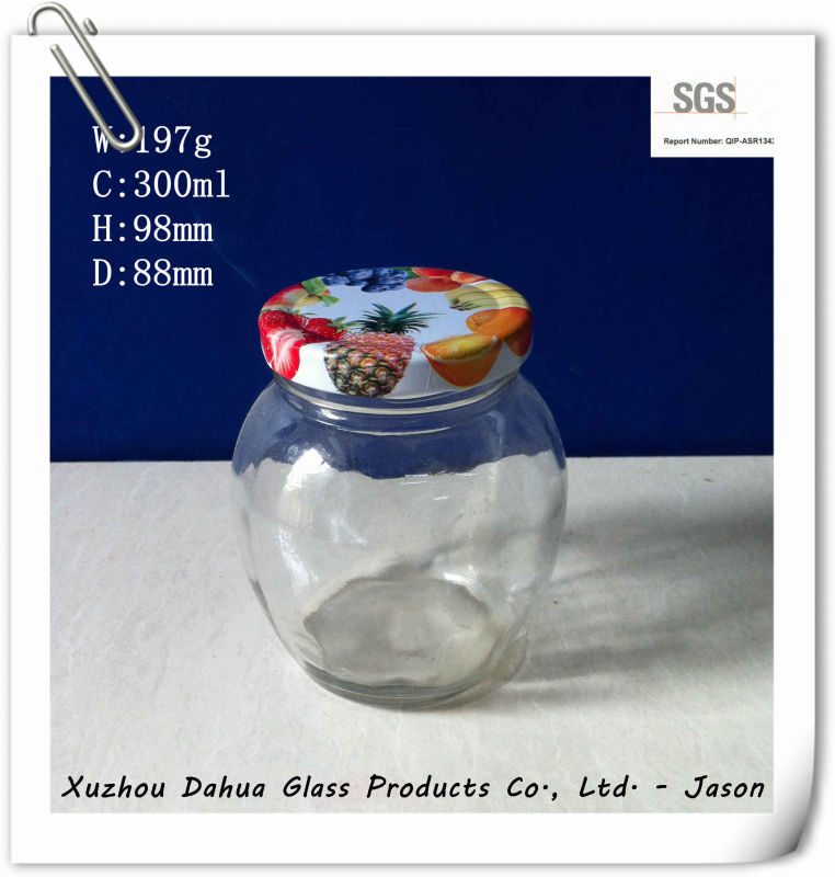 300ml Round Shape Glass Sauce Jar with Tin Lid