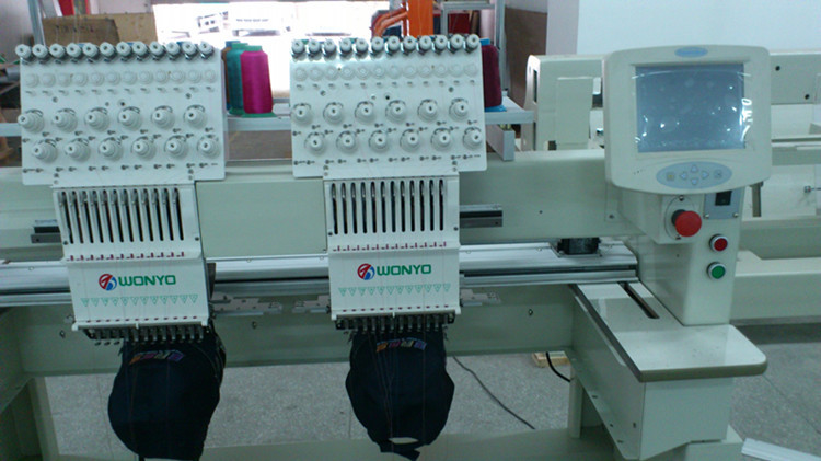 031fca1676a Wonyo 2 Head Computerized Embroidery Machine for Cap Hat T-Shirt Logo ...