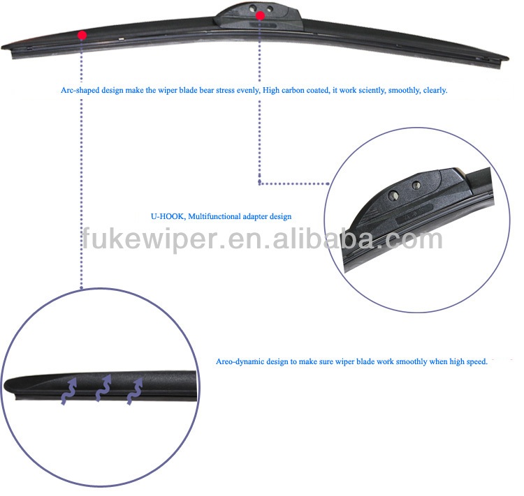 Windshield Wiper Cover, Automotive Wiper Blade, Bracketless Universal Wiper