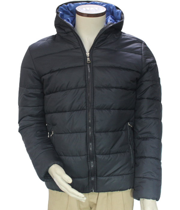 Shenzhen Winter Windproof Thermal Polyester/Cotton Padded Hoody Blue Leisure Outer Jacket