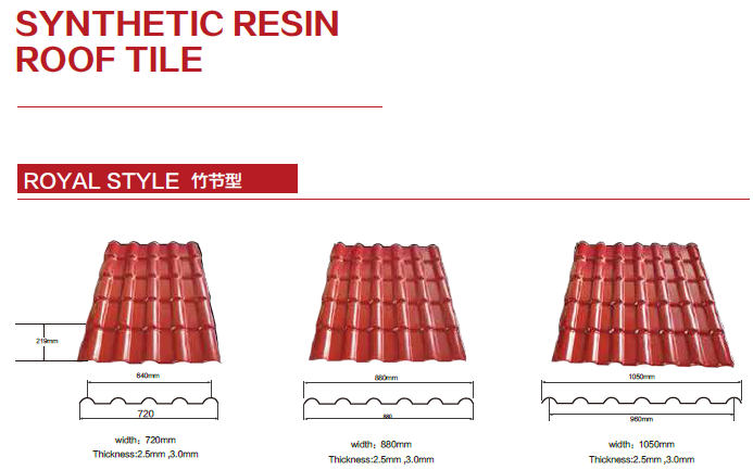synthetic resin roof tile for prefab house