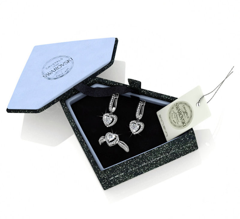Destiny Jewellery Crystal From Swarovski Set Ring and Earrings