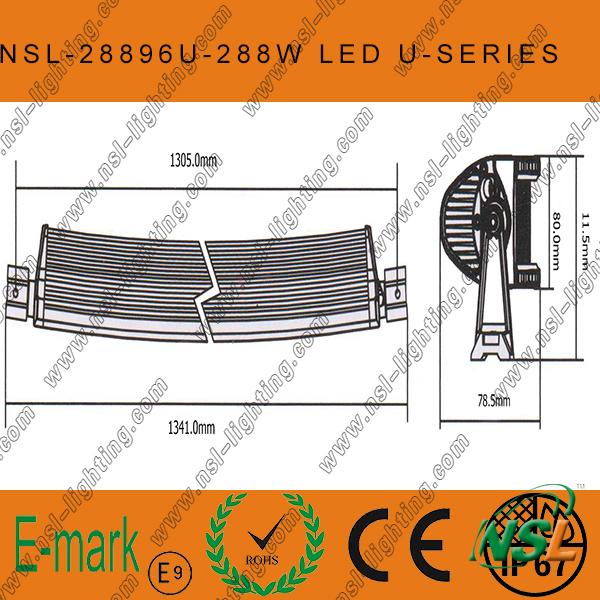 288W CREE Curved-U Series LED Light Bar, 50inch 96PCS*3W LED off Road Light Bar off Road Driving