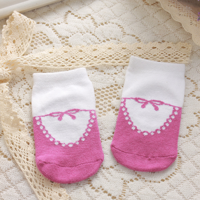 Adorable Infant Cotton Socks Colorful Designs Inside Cut Liners with Anti-Slip Dots