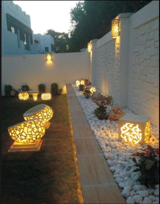 Sandstone Ball Sculpture Audio Speaker LED Lamp Lantern for Garden Decoration