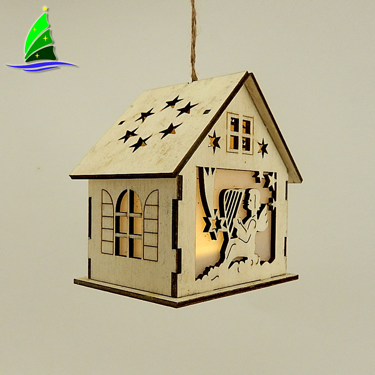 Wooden House Shaped Home Deco Led Light
