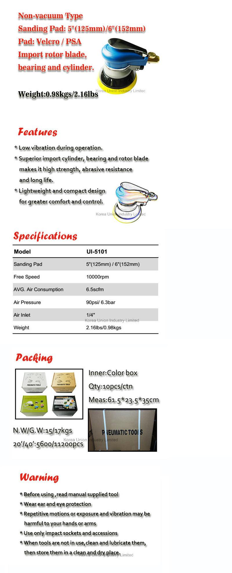 Hand Sander Pneumatic Abrasive Polishing Tool Air Palm Sander Ui-510109
