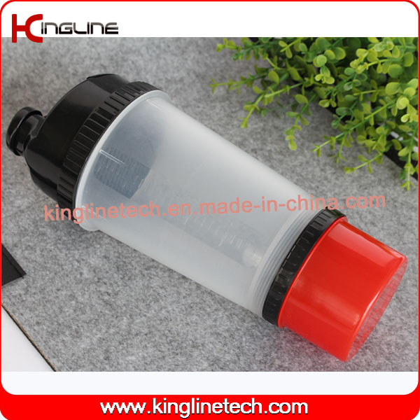 New Design 700ml Plastic Protein Shaker Bottle with Compartment on Bottom and Pillbox in Lid, BPA Free (KL-7001)