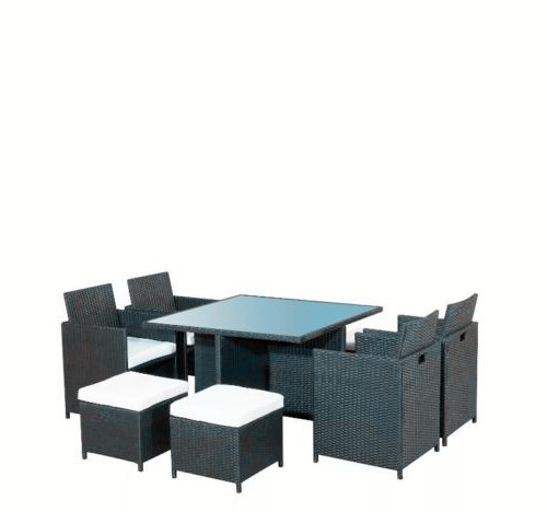 Black Outdoor Patio Rattan Furniture with 8 Seater