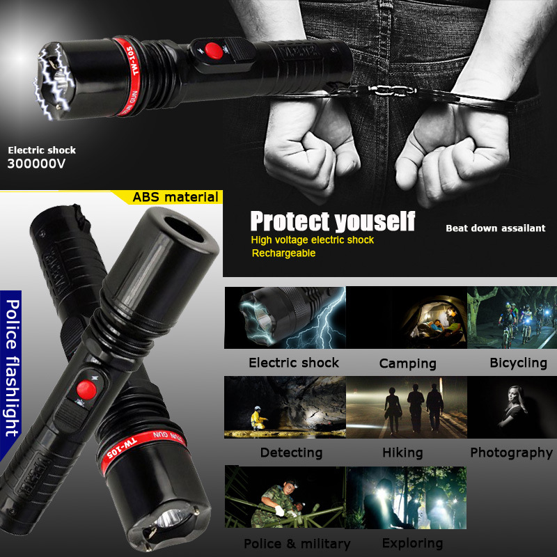 Plastic High Voltage Stun Guns with Flashlight