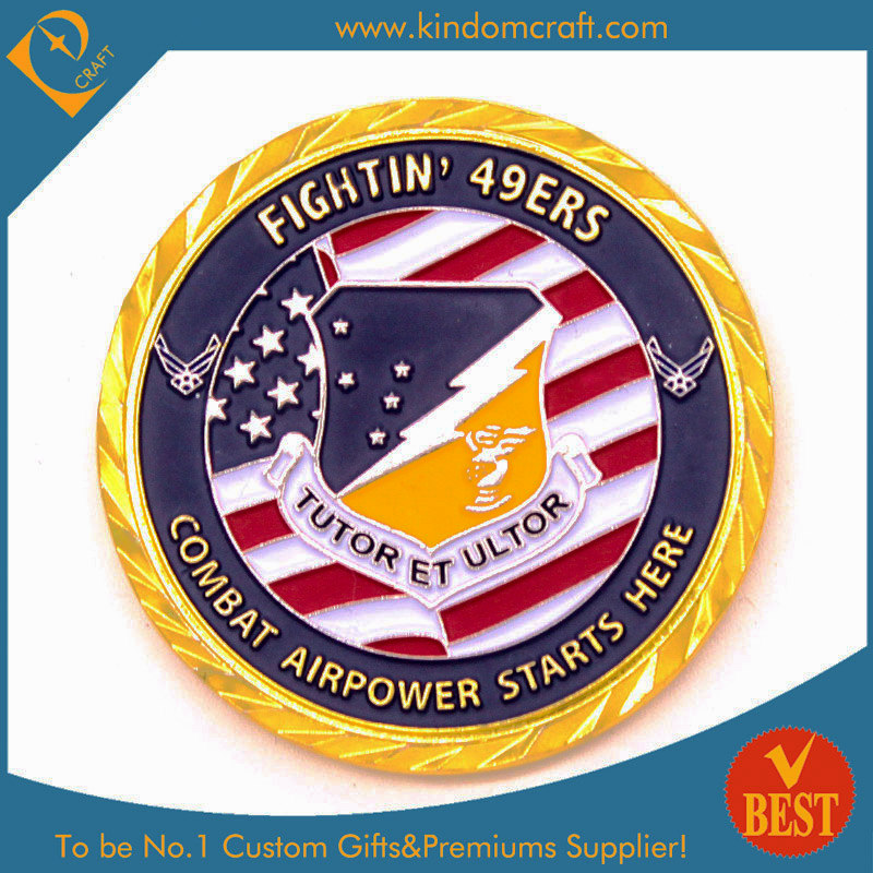 China Personalized Souvenir Military Gold Coin in Soft Enamel with Diamond Cut Edge