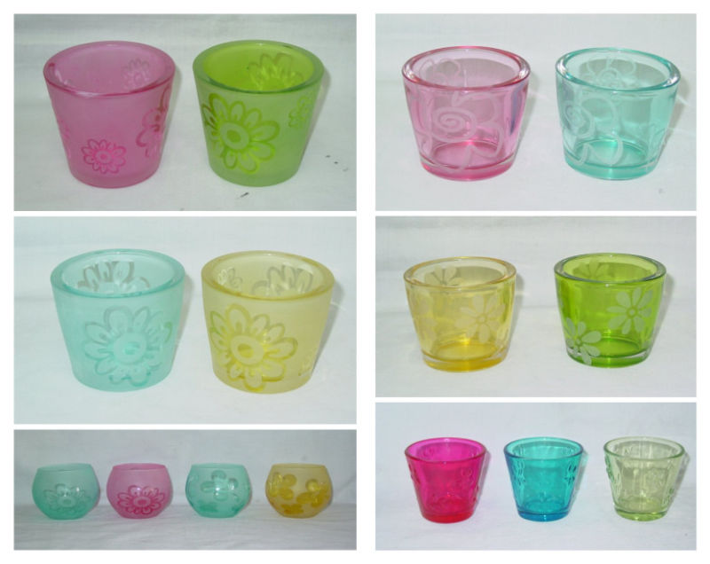 Clear V-Shaped Colorful Glass Candle Holder with Embessed Pattern Design (DRL06160)