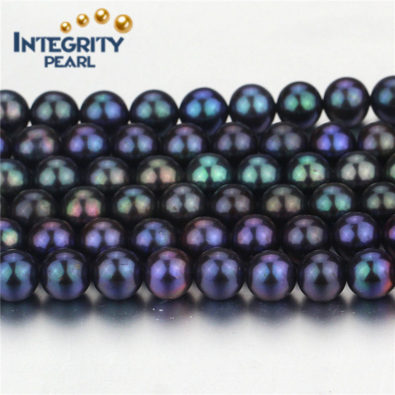 High Quality Peacock Round Shape Pearl Strands Size 7-8mm Grade AA Real Freshwater Pearl String