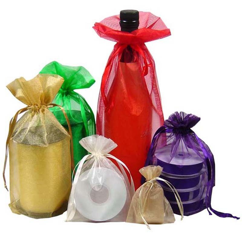 OEM Size Organza Promotional Gift Bag Gold Color