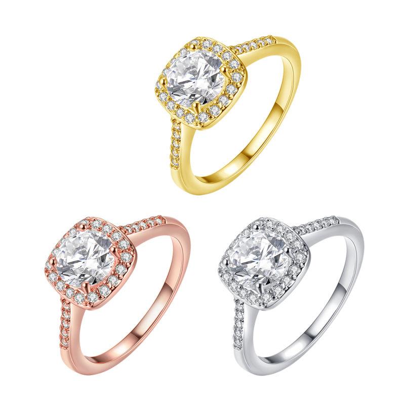 Fashion Zircon Platinum Ring Elegant Design for Women Wedding
