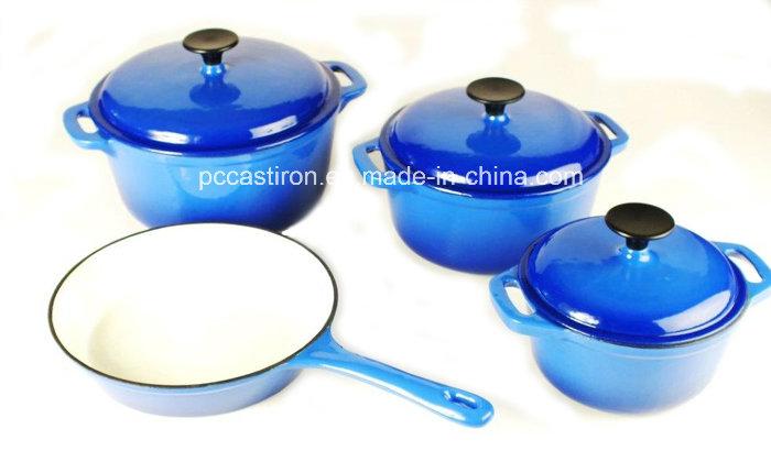 6PCS Enamel Cast Iron Cookware Set for Kitchen