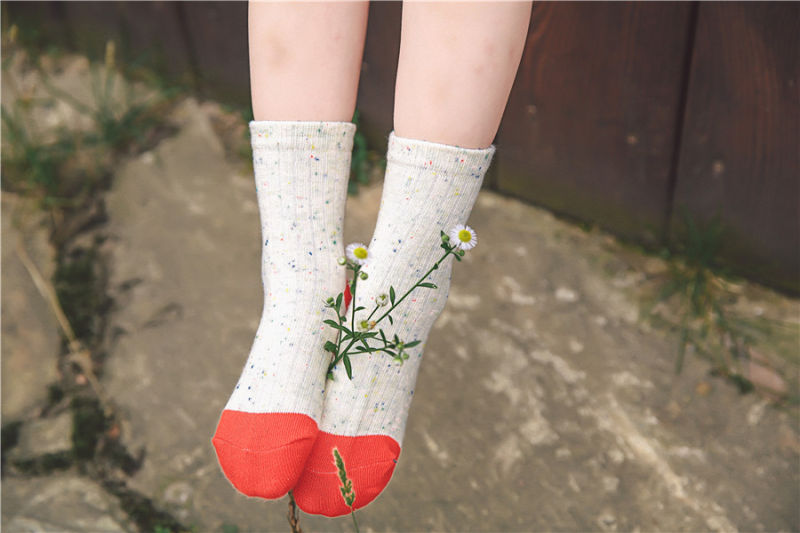 Colored Cotton Yarn Bright Color Girl Cotton Socks