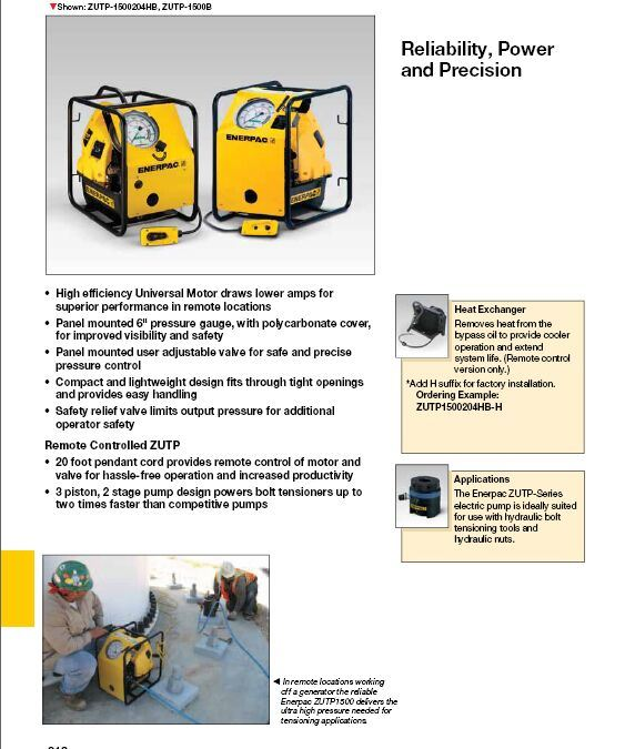 Zutp-Series Electric Pumps for Enerpac Parts (ZUTP1500E)