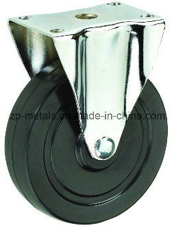 4inch Medium-Sized Biaxial Black Rubber Fixed Caster Wheels