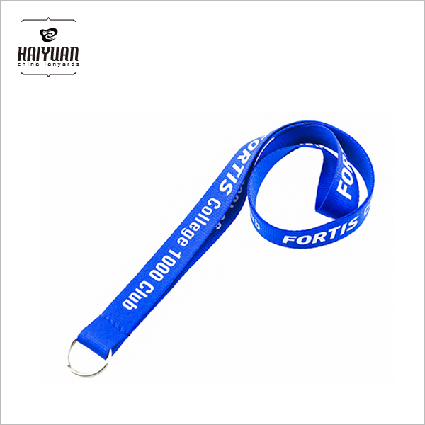 Custom Retractable Badge Reel Silkscreen Lanyard with Metal O Ring