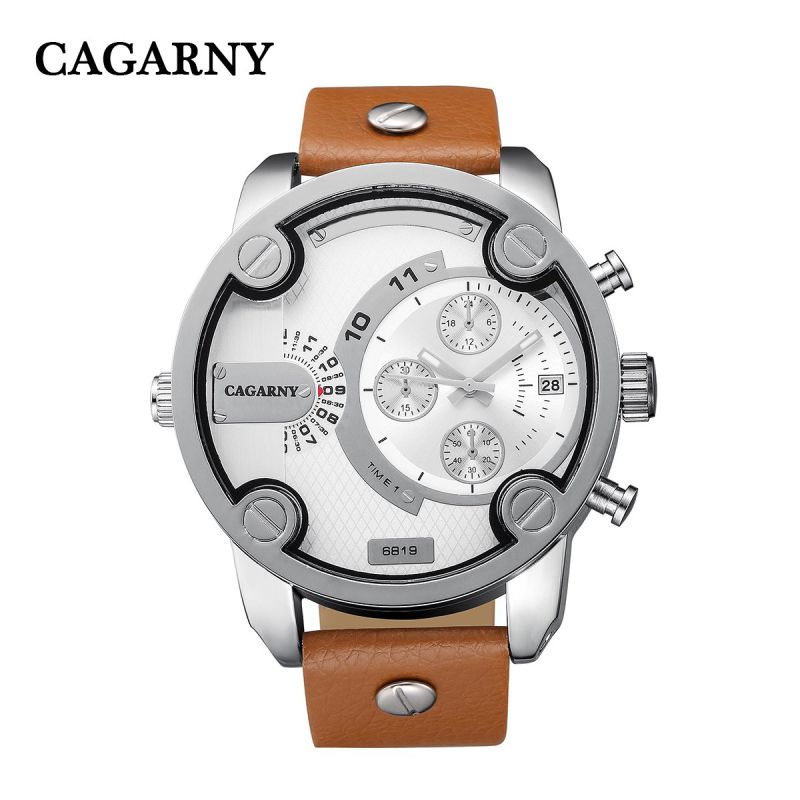 Cagarny 6819 Mens Wristwatch Silver Case Multifunction Pushers and Small Dials